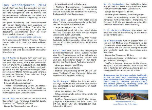 schwul wandern Braunschweig Wanderprogramm 2014